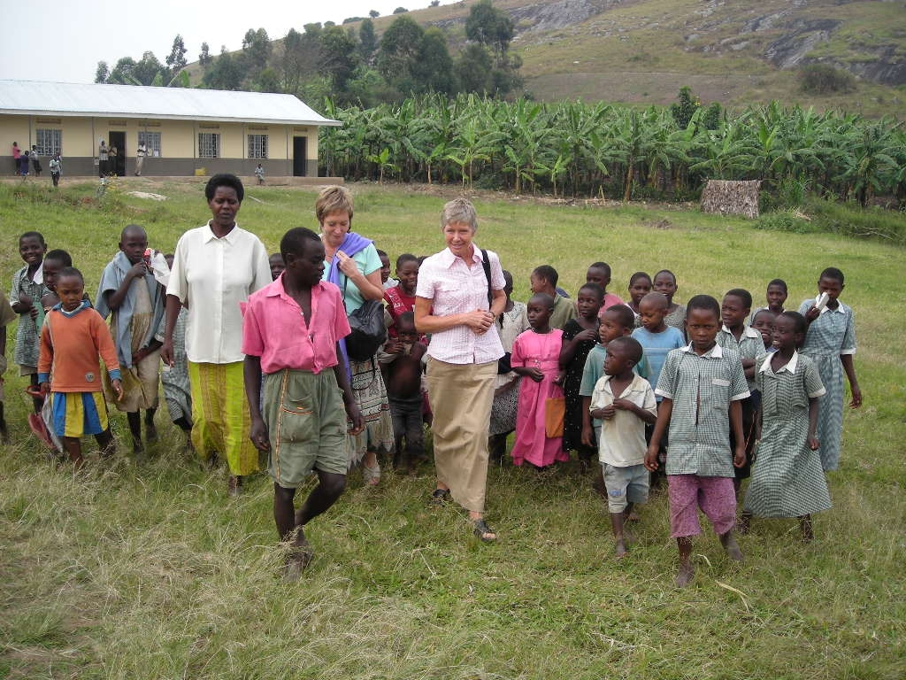 WAN co-founder and director Janice Cox with Humane Education program in Africa.