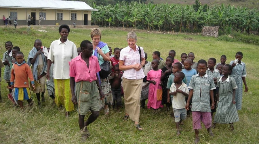 WAN co-founder and director Janice Cox with a humane education program in Africa.